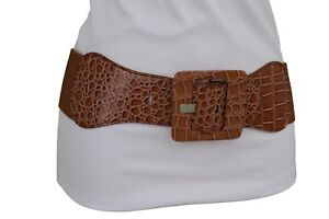 New Women Wide Mocha Brown Fashion Elastic Belt Square Buckle Plus Size M L XL