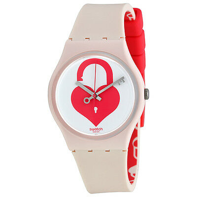 Swatch Unlock My Heart Ladies White (Unlock My Heart) Dial Light Pink Silicone