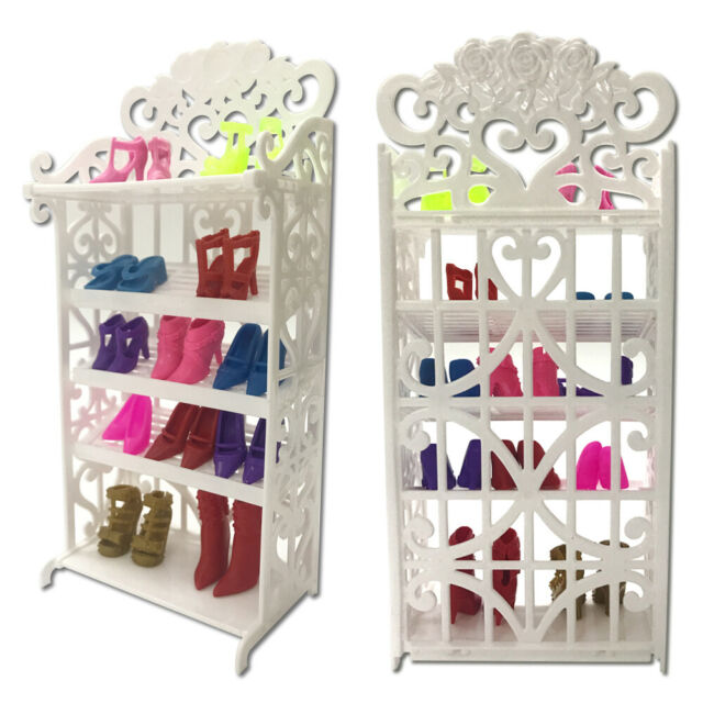 Doll Shoes Rack Furniture Hollowed + 8 Pairs Doll Shoes Playhouse Accessories