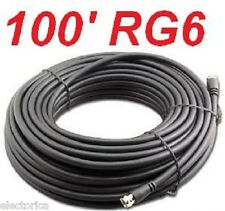 100 FT RG-6 SATELLITE COAX CABLE RG6 COAXIAL HD CONNECTOR WIRE TV ANTENNA OTA