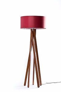 design stehlampe tripod leuchte buche holz h 160cm stativ stehleuchte rot ebay. Black Bedroom Furniture Sets. Home Design Ideas