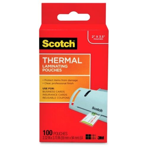 """3.75/"""" Width Scotch Thermal Laminating Pouches Business Card Size tp5851100"""