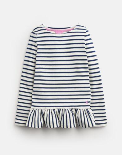 9Yr-10Yr Joules Girls Polly Peplum Long Sleeve Top Cream Navy Lurex Stripe