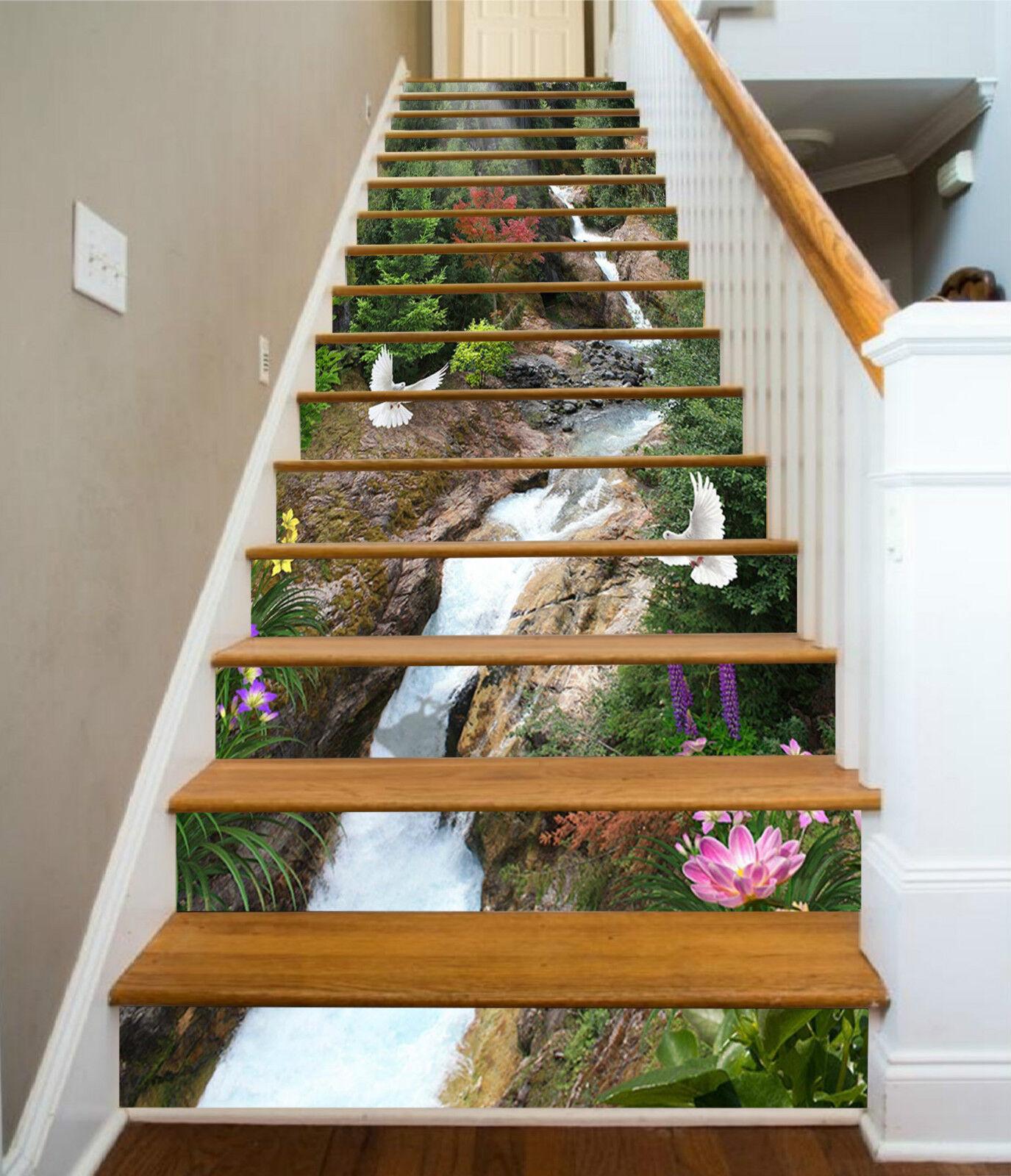 3D Bach Vögel 205 Stair Risers Dekoration Fototapete Vinyl Aufkleber Tapete DE