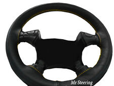 FITS 95-02 VAUXHALL VECTRA B BLACK LEATHER STEERING WHEEL COVER YELLOW STITCHING