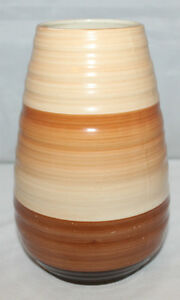 Shelley-Vintage-1930-039-s-Harmony-Banded-Ware-Brown-Vase-Shape-979