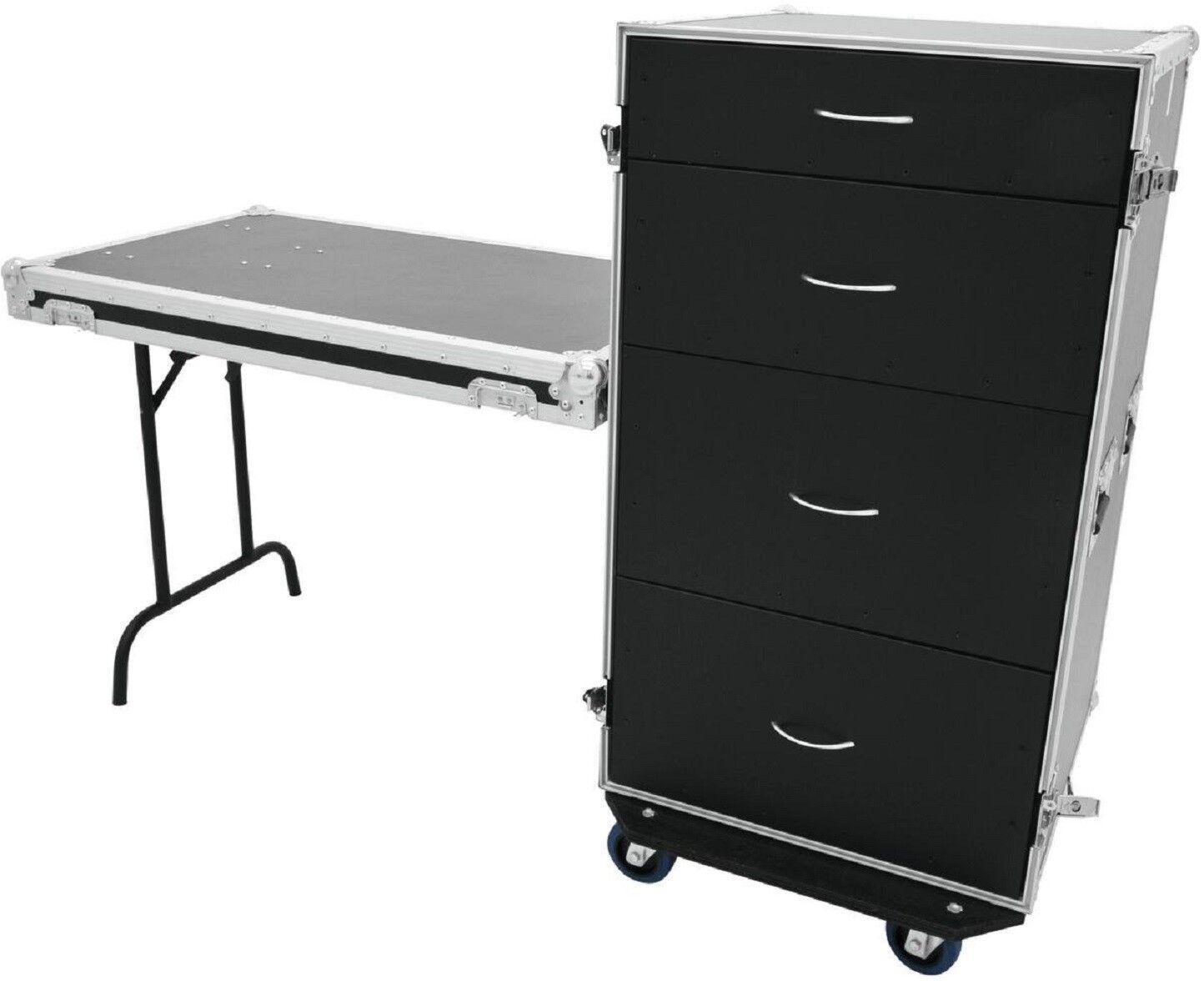 Schubladencase DS-1 Toolcase Zubehörcase mit Tisch und Blau Wheels Transportcase
