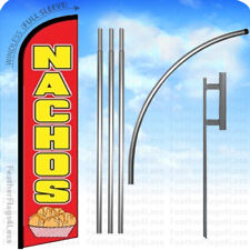 Nachos Windless Swooper Flag Kit Feather Banner Deluxe Pole Sign 15 Set Rf