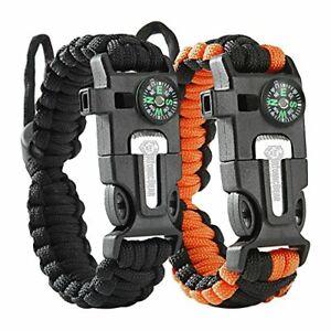 Atomic Bear Paracord Bracelet (2 Pack) - Adjustable - Fire Starter - Loud Whistl