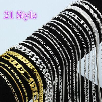 Wholesale Multi-Style 925 Silver Chain Necklace Jewelry Women Men 16-30inch CA