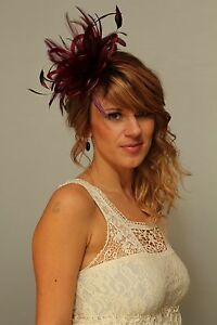 Image is loading Burgundy-Wine-Fascinator-Hat-any-satin-highlight-feather- aa9404f37ea