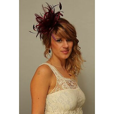 Burgundy Wine Fascinator Hat/any satin/highlight feather colour