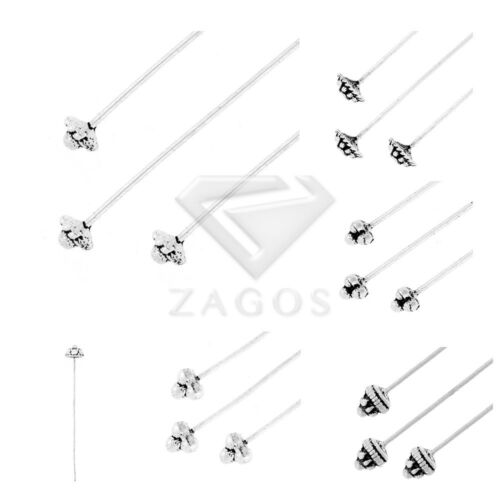 30pcs Lots Tibetan Silver Metal Head Pins Needles Other Jewelry Findings 6 Style