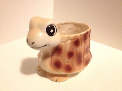 Japan Nursery Planter Vintage Anthropomorphic Turtle With Yellow Bow Planter
