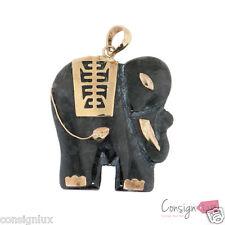 Charcoal Jade Elephant Pendant, 14k yellow gold