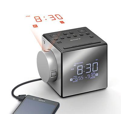 Sony ICF-C1PJ AM/FM Dual Alarm Clock Radio w/Nature Sounds Time Projection