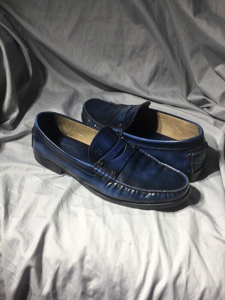 Tod's Mens bluee Black Boston Brushed Leather Penny Loafer UK 10.5 - US 11.5  475