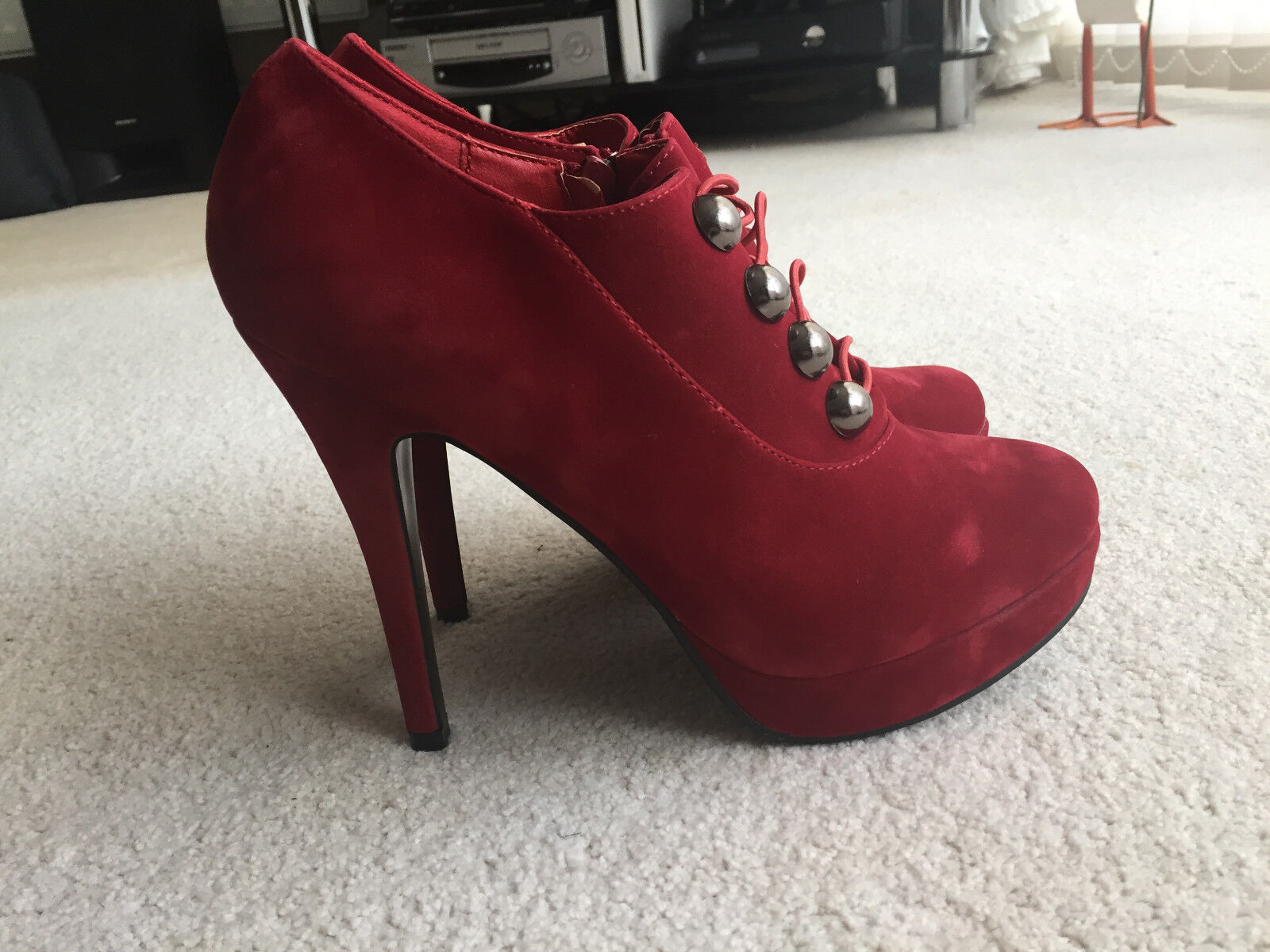 New Women's Stephan High Heel Size Red Suede Shoes - Size Heel 40 () 914ac0