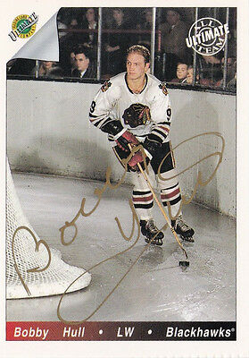 Professional Sale 1992 Ultimate Original Six Bobby Hull Chicago Black Hawks Gold Autographed Card Sports Mem, Cards & Fan Shop