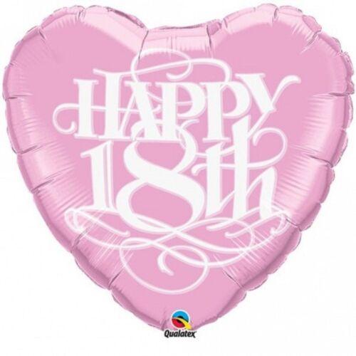 "Happy 18th 18 Pink Heart Happy Birthday Foil Balloon 18/"" Qualatex New"