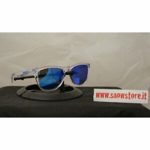 a6de450645 Image is loading OAKLEY-FROGSKINS-CRYSTAL-COLLECTION-POLISHED-CLEAR -SAPPHIRE-IRIDIUM