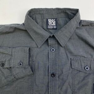 Enyce-Button-Up-Shirt-Mens-XL-Gray-Long-Sleeve-Casual