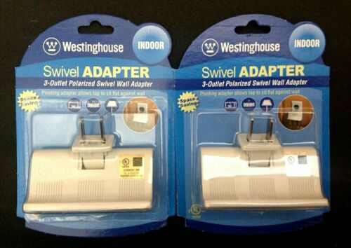 Space Saving TWO 3-Outlet Polarized Swivel Wall Adapter-UL Listed