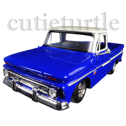 Motormax 1966 Chevrolet C10 Fleetside Pickup Truck 1:24 73355 Blue w Cream Top