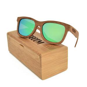 208389cab3 Image is loading Retro-Carbonized-Wood-Bamboo-Sunglasses-Polarized-Mirrored- Wooden-