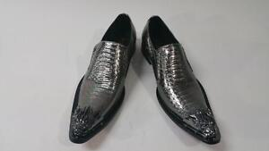 Men-039-s-New-Fiesso-Silver-Snake-Slip-on-Shoes-Silver-Pointed-Metal-Toe-FI-6909