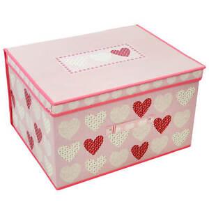 Girl Bedroom Storage Chest Pop Up Nursery Room Tidy Toy Box Foldable Heart Blush   EBay