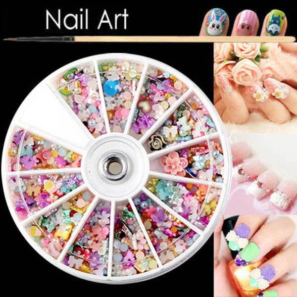 DIY 1200Pcs Mixed Color 3D Rhinestone Flower Bead Nail Art Tips Decoration Wheel