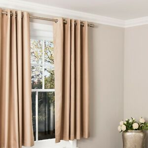 Pair-of-Silky-Effect-Blackout-Pencil-Pleat-Curtains-in-Toffee-Cream-Colour