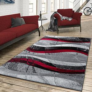 Das Bild Wird Geladen Teppich Wohnzimmer Modern  Gewellte Musterung Grau Rot Anthrazit