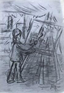 Zeichnung-Skizze-Studie-Junges-Maedchen-Kuenstlerin-Malerin-Staffelei-Pinsel