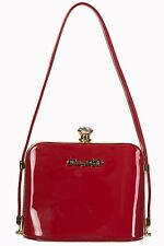 Banned Dancing Days Rockabilly 50s Glossy Shiny Handbag Clutch Shoulder Bag Red