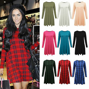 New-Ladies-Womens-Tartan-Vintage-Fit-Flared-Tunic-Swing-Dress-Stretch-Skater