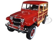 1955 WILLYS JEEP STATION WAGON BURGUNDY 1/18 MODEL CAR BY ROAD SIGNATURE 92858