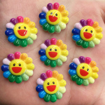 New 20pcs resin Cute Smile sun flower Flatback stone child scrapbook DIY buttons