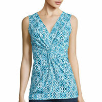 St. John's Bay Sleeveless Twist-front Top Size S, L Monaco Blue