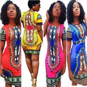 African-Women-039-s-Sexy-Summer-Bohemia-Traditional-Print-Dashiki-Bodycon-Mini-Dress