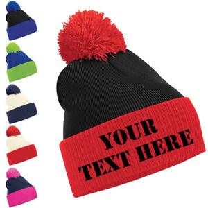 f71a17102b8 Personalised Two Tone Pom Pom Beanie Bobble Hat With Name Slogan ...