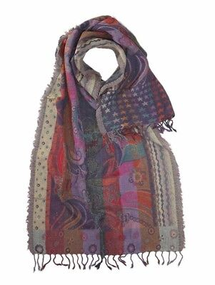 100% Pura Lana Royal Valley Large Viola/arancione/rosso Sciarpa Jacquard Astratte-red Abstract Jacquard Scarf It-it