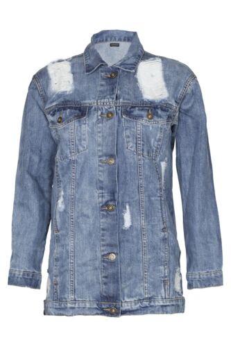 Giacca Denim Donna Superdry oversize Strappato Maglietta Donna Biker lunga ANGOSCIA Jeans