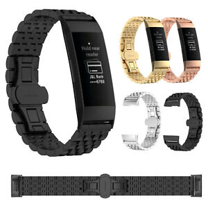 For-Fitbit-Charge-3-Stainless-Steel-Link-Bracelet-Metal-Wrist-Band-Watch-Strap