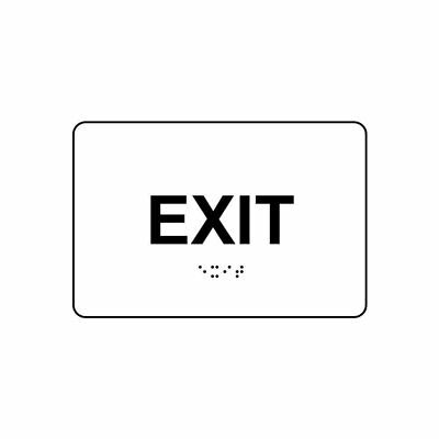 ADA-Compliant Braille with Raised Letters Black on White Exit Sign 6x4 in