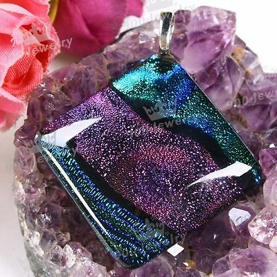 1pc Chic Gorgeous Colorful Lampwork Glass Square Pendant for Necklace Making