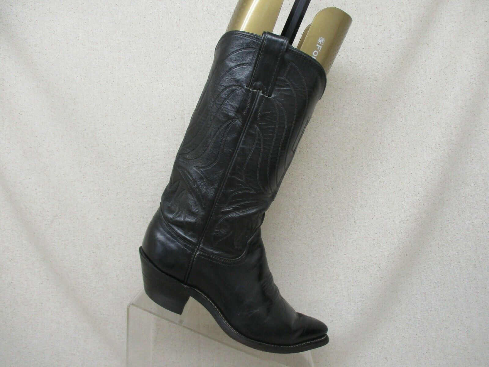 Justin Black All Leather Cowboy Western Boots Womens Size 6.5B Style T4774
