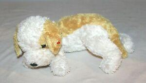 "Ty Beanie Babies Sampson Puppy Dog 2002 Nice No Tag 15"" Yellow White Brown Tan"