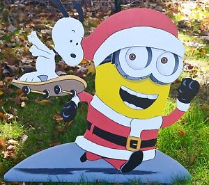 image is loading lawn stake snoopy minion christmas decorations yard art